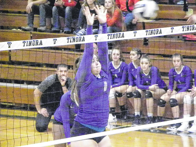 Ellie Beroske of Swanton goes up for a block Saturday against Hicksville in a Division III volleyball sectional final. The Bulldogs won in four sets to punch their ticket to the district tournament.