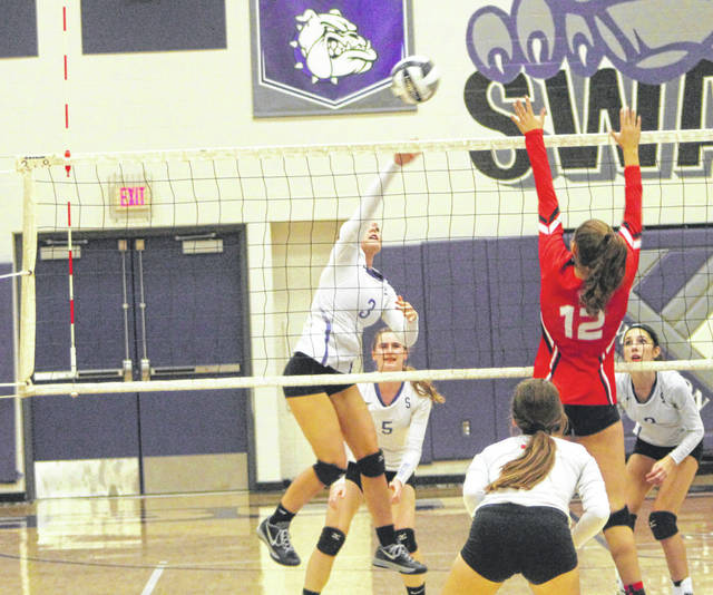 Riley Gardner of Swanton fires one over the net from the right side Tuesday versus Wauseon. The Bulldogs fell to the Indians in four sets.