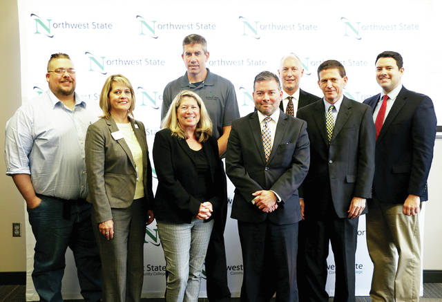Pictured are - front, from left - Lori Robison, NSCC VP for Academics; Cheryl Rice, associate vice chancellor, Higher Education Workforce Alliance; Eli Faes, ODHE; John Magill, assistant deputy chancellor, Economic Advancement - back row, from left - Colin Doolittle, NSCC STEM faculty; Dave Mohring, NSCC STEM faculty; Dr. Dan Burklo, NSCC STEM; and Senator Rob McColley.