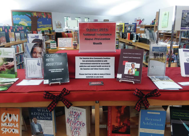 In recognition of Red Ribbon Week the Swanton Public Library has a display with information on substance use and abuse.