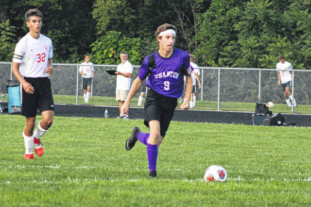Zach Schaller of Swanton on his way to a goal during a league match versus Liberty Center this season. He was selected first team All-NWOAL for the Bulldogs.