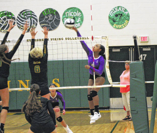Ashlynn Waddell of Swanton shoots one from the left side in a match at Evergreen this season. She was second team All-NWOAL for the Bulldogs.