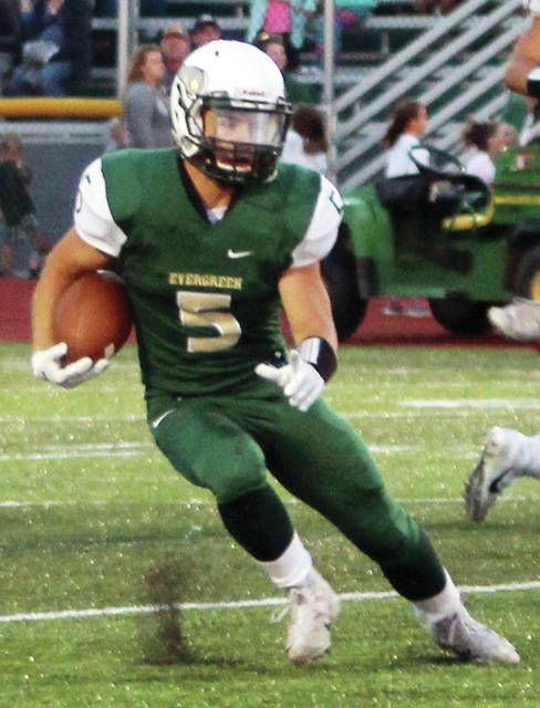 Hunter Vanwert of Evergreen runs the ball in a game this season. The senior was honorable mention all-district in Division VI.