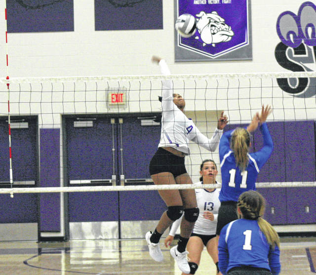 Ashlynn Waddell of Swanton with a kill in a match this season. She was recently selected honorable mention in District 7.