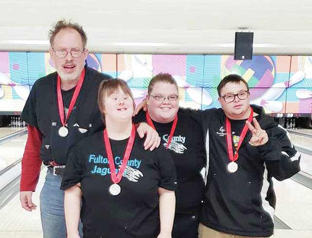 Fulton County Special Olympics traveled to Columbus to compete in the 2018 State Bowling Competition. Results for the Jaguars were as follows: Team 1, consisting of Roger Wolfram, Jason Fields, Jason Pfund, and Ann Schroder, received fifth place. Team 2, consisting of Lennon Tilse, Danni Smith, and Danelle Bodette received a silver medal; and Team 3, pictured, consisting of Austin Double, Phil Bartus, Jenny Whaley, and Brianna Lillie, also received a silver medal.
