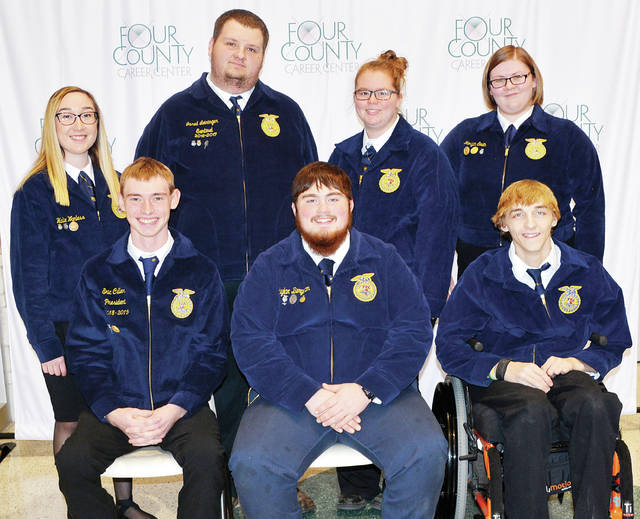 Four County Career Center in Archbold has announced its FFA chapter officers for the current school year. Pictured are - front, from left - Eric Culler, Fairview, president; Schylar Bergman, Edon, vice president; Dakota Gilett, Montpelier, secretary - back, from left - Halie Wanless, Patrick Henry, treasurer; Jared Leininger, Evergree, student advisor; Jazlynn Fickle, Hilltop, sentinel; Morgan Smith, Edgerton, reporter. Advisors include Jason Elston, Florence Luzny, Eric Hite, Denton Blue, Larry Soles, and Stephanie Pippin. The chapter's over 130 members work on chapter projects, compete in leadership and skill events, and sponsor student assemblies.
