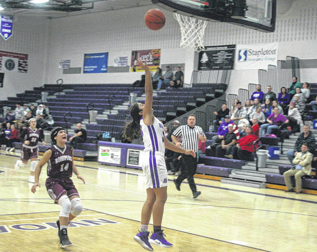 Averie Lutz of Swanton opens the game with a steal and score Monday versus Rossford. She led all scorers with 22 points.