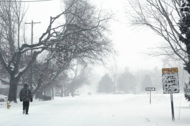 Snow covered Brookside Drive, and the rest of the Swanton area, on Saturday.