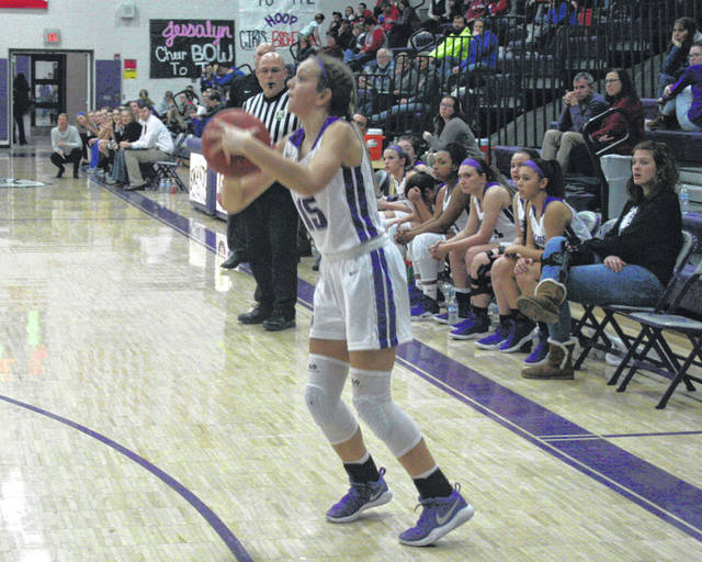 Frankie Nelson of Swanton knocks down a three-pointer from the corner during Thursday's win over Patrick Henry. The Bulldogs defeated the Patriots, 40-31.
