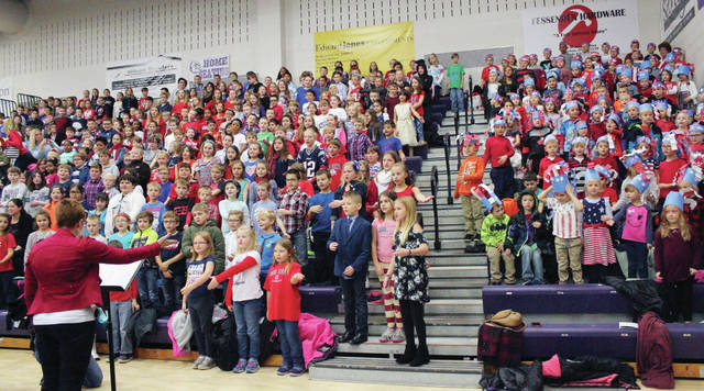 Swanton Elementary School students sing during the annual Veterans Day program.
