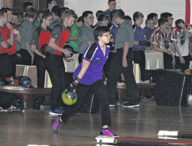 Gabriel Mosher of Swanton in the warm up for Saturday's NWOAL Bowling Championships at Swanton Sports Center. She rolled a 488 series for the Bulldogs, who finished third as a team.