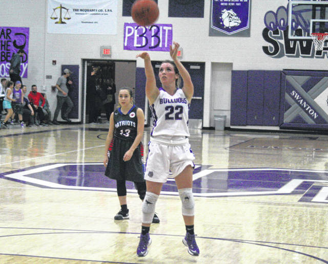 Bridget Harlett of Swanton hits a free throw in a game against Patrick Henry this season. She was selected honorable mention All-NWOAL.