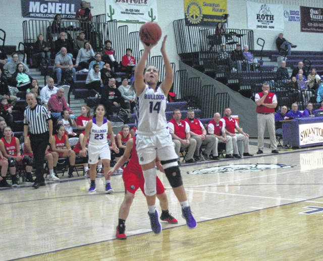 Morgan Pine of Swanton with a basket Tuesday versus Wauseon. The Bulldogs fell to the Indians, 41-33.