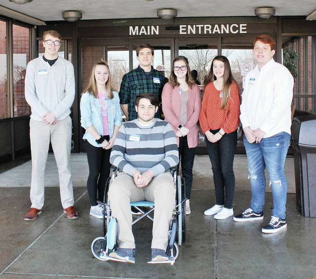 Students participating in the 22nd Annual Fulton County Health Center Health Care Camp were, from left, Kallen Brown and Kelly Limbaugh of Ayersville High School, Andrew Pile of Wauseon High School, Mackenzi Rivera of Pettisville High School, Jordan King of Wauseon High School, Jose Aguilar of Fayette High School, and, seated in the wheelchair, Owen King of Wauseon High School.