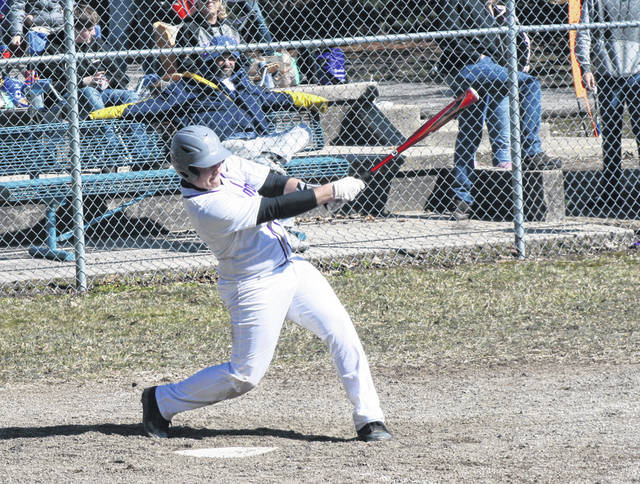 Swanton's Derek Floyd brings in two runs with a base hit in the bottom of the second inning Saturday versus Northwood in the season opener. The Bulldogs handled the Rangers, 17-0.
