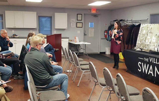 Swanton Village Administrator Rosanna Hoelzle speaks to the crowd Thursday during the community forum on the Memorial Park Master Plan.