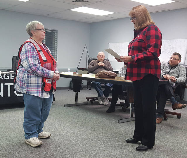 Swanton Mayor Ann Roth proclaims March as Red Cross Month with local volunteer Karen David.