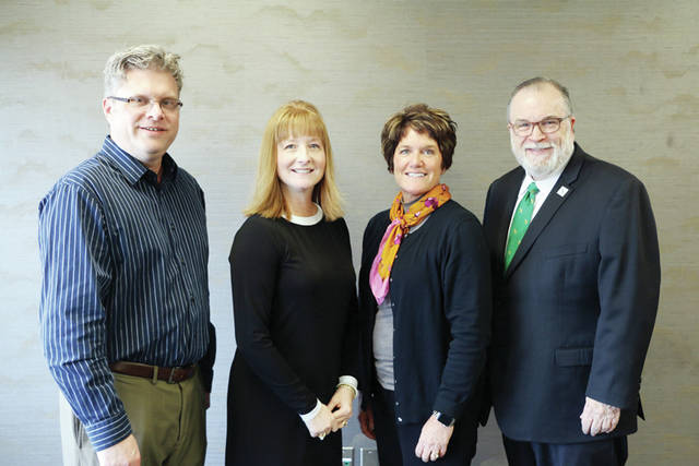 The Northwest State Community College Board of Trustees held its annual officer elections. The officers are, from left, Joel Miller, vice chair; Laura Howell, chair; Lisa McClure, second vice chair. They are shown with NSCC President Dr. Michael Thomson.