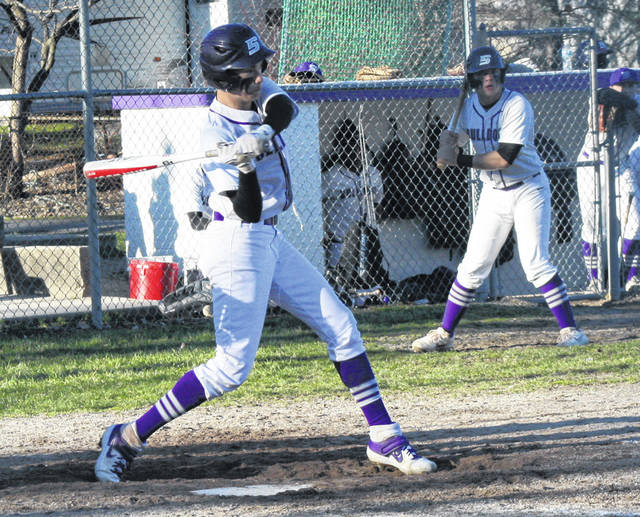 Carter Swank of Swanton loads up prior to getting a single in the bottom of the sixth inning Monday against Bryan.