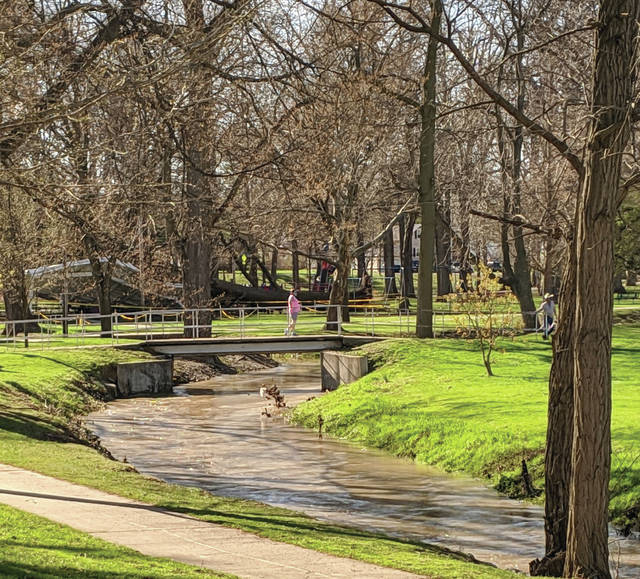 A rainy late week gave way to a beautiful Easter Sunday in Swanton. The rain did, however, leave high water in several areas, including Ai Creek in Swanton's Memorial Park.