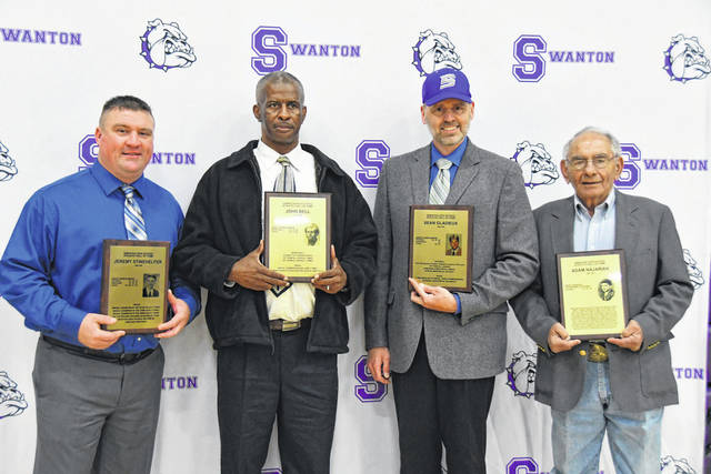 The 2019 Athletic Hall of Fame induction ceremony was held Saturday at Swanton High School. Individual inductees were, from left, Jeremy Stinehelfer, John Bell, Sean Gladieux and Adam Najarian (son Ken pictured).