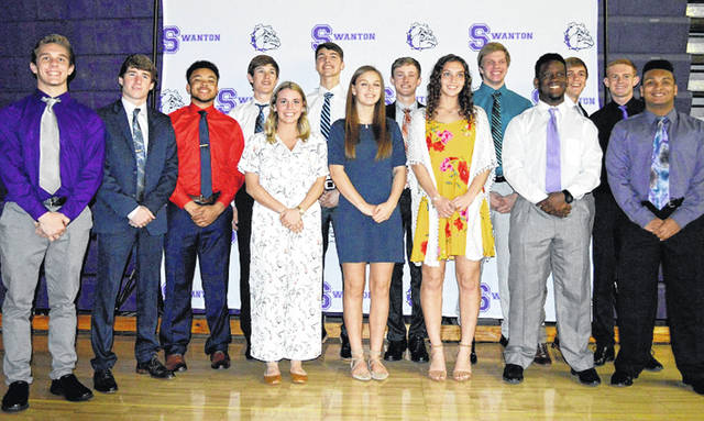 As part of its athletic hall of fame induction ceremony on Saturday, March 30, Swanton also awarded their senior athletes who have participated in two or more sports all four years of high school on this night. Front row, from left: Bridget Harlett, Hannah Grabke, Allyssa Westfall, Xavier Williams, Zaven Waddell. Back row: Ryan Marvin, Zach Schaller, Hunter Mix, Austin Luce, Donovan Avalos, Carter Swank, Randy Slink, Dylan Gilsdorf, Brett Bettinger.