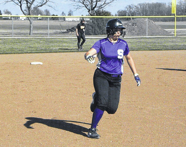 Kylie Ulch of Swanton makes her way around the bases after hitting a leadoff home run Monday against Evergreen in NWOAL play. The Bulldogs fell to the Vikings, 12-5.
