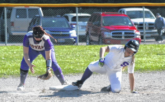 Kylie Ulch of Swanton slides safely into second base during a league game April 15 against Bryan. The Bulldogs fell to the Golden Bears but bounced back with wins over Ottawa Hills and Patrick Henry.