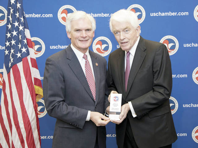 """Fifth District Congressman Bob Latta (R-Bowling Green) was the recipient April 4 of the """"Spirit of Enterprise"""" award by the U.S. Chamber of Commerce for his pro-jobs and pro-growth record legislative record. Recipients must receive a 70% on the Chamber's scorecard from the previous year. """"I'm honored to receive the """"Spirit of Enterprise"""" Award that shows my commitment to policies that create jobs, expand our economy, and increase wages for workers,"""" Latta said."""