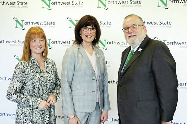 The NSCC Board of Trustees welcomed Sandra Barber, center, of Wauseon as its newest member. Barber had previously served from 2011-17. Her appointment fills the vacancy created when Paul Siebenmorgen resigned in January. She is pictured with Board Chair Laura Howell, left, and NSCC President Dr. Michael Thomson.