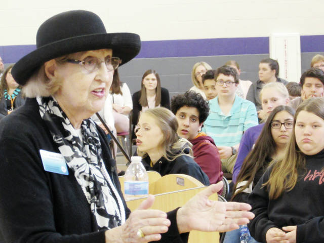 Paula Marks-Bolton, a 92-year-old Holocaust survivor, shared her experiences Tuesday with students at Swanton Middle School.