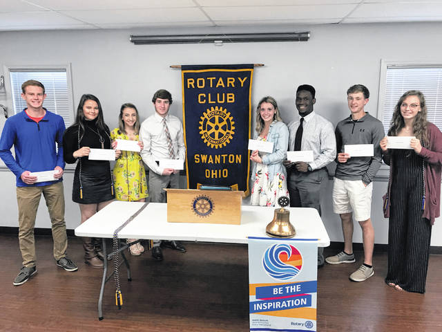 Scholarship recipients honored at a recent Rotary Club meeting include Brett Bettinger, Jayla Bartolet, Victoria Wernsing, Zachary Schaller, Bridget Harlett, Xavier Williams, Carter Swank, and Hannah Grabke.