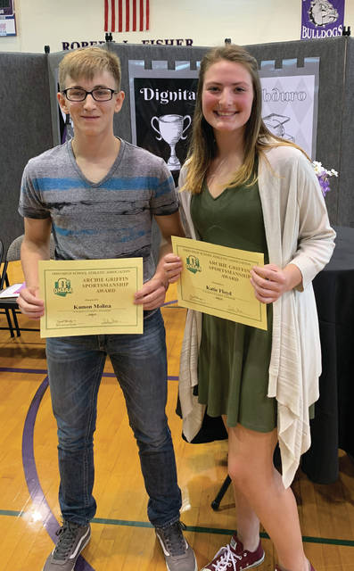 Several students were honored at the Swanton Middle School awards ceremony on May 22. Among them were Kamon Molina and Katie Floyd, the Archie Griffin Award winners. The sportsmanship award is given to one middle school male and one middle school female from each school in the Ohio High School Athletic Association.