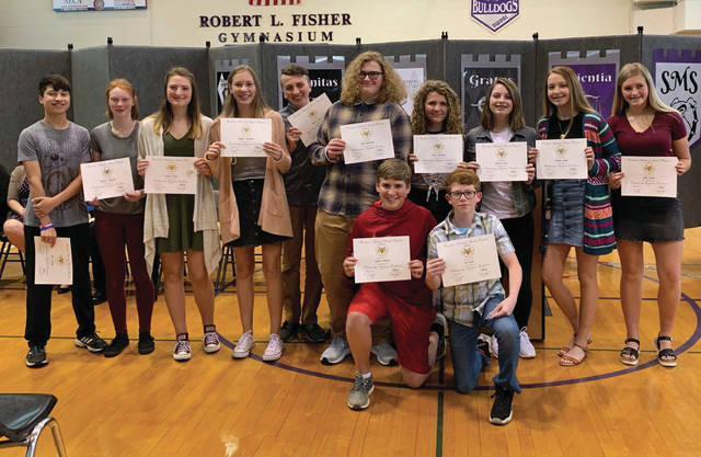 The Swanton Middle School academics award night was held May 22 to honor all students in grades 5-8 who have excelled in the classroom. Above, are the eighth grade students who received the Presidential Award, maintaining a 3.5 grade point average through all of middle school.