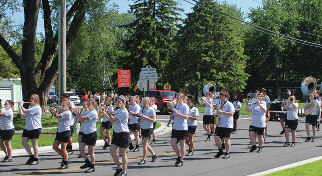 The Swanton Marching Band heads down Church Street during the Memorial Day parade.