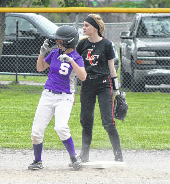 Rachel Waszak of Swanton stands on second base after a double during a game versus Liberty Center this season. She was named second team all-league for the Bulldogs.