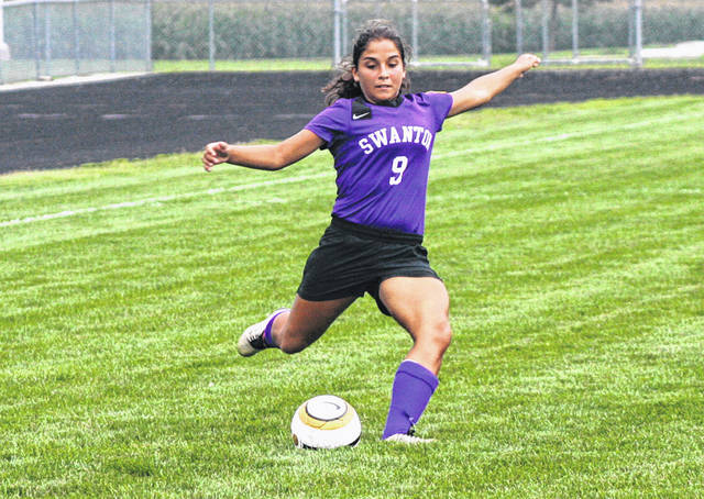 Averie Lutz of Swanton boots one toward the goal during a game last season. She was second team All-NWOAL in 2018.