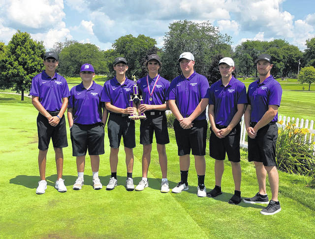 The Swanton golf team gathers for a photo after taking runner-up at the Bulldog Invitational at Valleywood Wednesday. Sam Betz paced the Bulldogs with an 85.