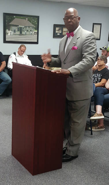 Washington Muhammad, of the Community Solidarity Reponse Network of Toledo, spoke at the Aug. 12 Swanton Village Council meeting about efforts to ease tensions in the Paigelynn Place subdivision.
