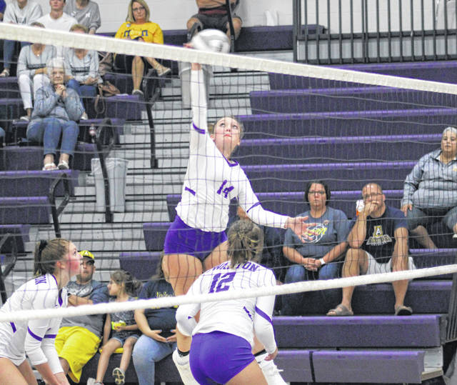Jessica Dohm of Swanton hammers one over the net during Thursday's NWOAL contest against visiting Archbold. The Bulldogs improved to 2-0 in the league after the sweep of the Blue Streaks.