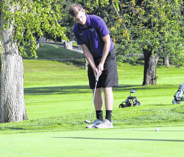 Brady Lemons of Swanton putts one on the 17th hole at Valleywood in a NWOAL match on Sept. 5. He shot a 44 to finish co-medalist as the Bulldogs defeated Archbold and Patrick Henry at Ironwood in Wauseon Thursday. Also scoring for the Bulldogs were Garrett Swank and Sam Betz who each shot a 46, and Gabe Swartz who finished with a 50. On Wednesday, Swanton took second to Central Catholic but ahead of Whitmer in a tri-match at Valleywood. Swank (co-medalist) had a 41, Betz 42, Lemons 44 and Raymond Schad 50.