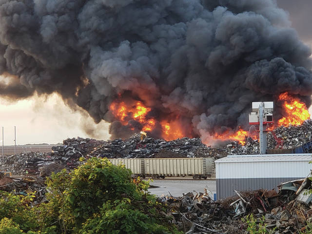 Fire raged at the MetalX plant in Delta on Monday evening, with over 30 fire departments called to the scene.