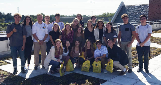 Students at the University Toledo were, from left, front row: Alexis Bergman, Alexia Westhoven, Amber Never, Kara Truckor, Cole Mortemore, Riley Hensley; middle row: Madison Walters, Olivia Bergman, Madison Stout, Kaitlyn Tyson, Maya Vargas, Xavier Wiemken, Ean Comstock; and back row: Caleb Eckels, Alexis Sarvo, Evan Carmean, Mason Sullivan, Hayley Newton, Tyler Anderson, Elizabeth Hayes, Bruce Vidak, Noah Reiter.