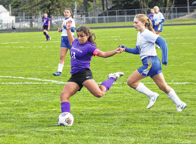 Swanton's Aricka Lutz boots one towards the Miller City goal in a sectional final contest Thursday, Oct. 17. Lutz was first team All-NWOAL for the Bulldogs.