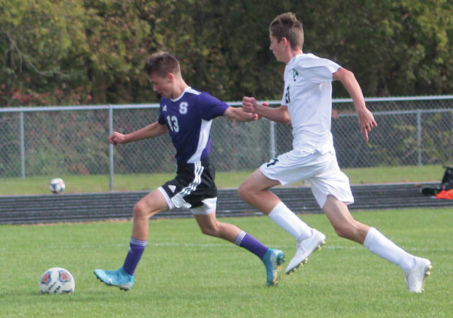 Swanton's Hayden Callicotte lines up his shot before scoring the game's first goal on Saturday.