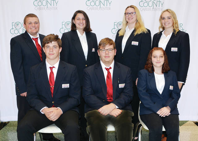 Four County Career Center of Archbold has elected its 2019 Business Professionals of America officers for the more than 75-member chapter. The officers sponsor various activities and attend leadership workshops throughout the year. The BPA chapter also assists in the Northwest Ohio Special Olympics. Pictured are - front, from left - Ethan Thompson of Fairview, president; Zacary Sparks of Edon, vice president; Alpatha Coleman of Hicksville, secretary - back, from left - Gunner Kaylor of Fairview, AM treasurer; Mikaela Burghardt of Evergreen, PM treasurer; Christina Shafer of Bryan, AM public relations; and Kaitlyn Mallett of Hicksville, PM public relations. BPA advisors are Tina Short, Mary Jo Beilharz, Tim Ricketts, and Matt Geiger.