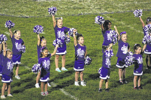 The young Swanton Recreation cheerleaders recently performed in front of the varsity football crowd at David Hansbarger Stadium.