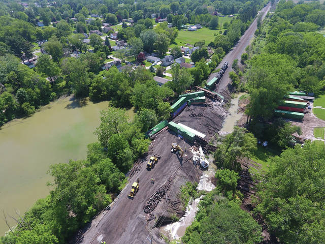 An overhead look shows the extend of the June train derailment in Swanton.