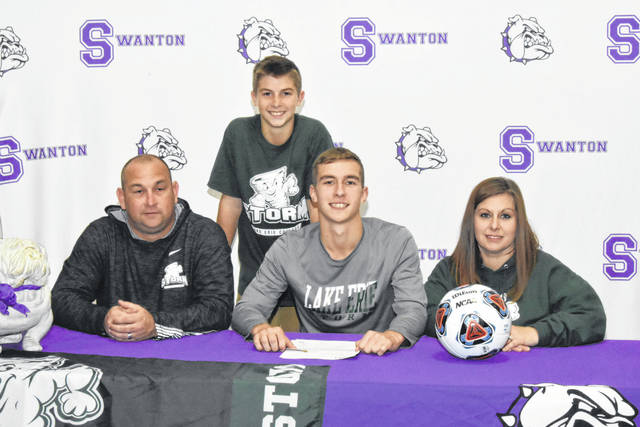 Swanton's Riley Hensley recently signed a letter of intent to continue his education and soccer career at Lake Erie College in Painesville, Ohio. Front row, from left: Joe Hensley (father), Riley, Alysia Hensley (mother). Back row: Jix Hensley (brother).
