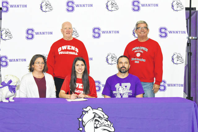 Swanton's Alexis Sarvo recently signed her letter of intent to continue her education and volleyball career at Owens Community College. Front row, from left: Michelle Sarvo (mother), Alexis, Tony Sarvo (father). Back row: Dennis Caldwell (Owens assistant coach) and Sonny Lewis (Owens head coach).